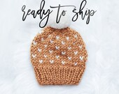 Fair Isle Knit Hat To Ship Hand Knit Handmade Baby Hat Beanie Mini Hearts Knit