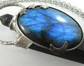 the star mirror - labradorite, snowflak obsidian & obsidian crystal pendant - moon and stars