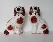 "SALE, 2 Stafforshire Ware ceramic dogs, Vintage spainel, signed English Beswick, Kent, brown and white, 7"" tall,  English Country, gift idea"