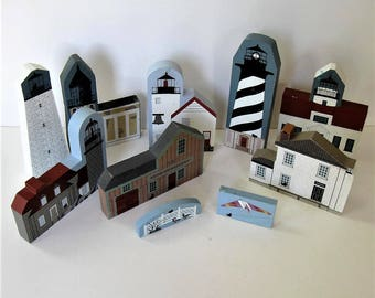 "Lot of 10 vintage Cat's Meow coastal lighthouse buildings, signed, 7"" tall, shelf sitters, wood village, beach cottage decor, gift idea"