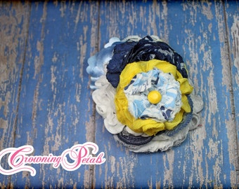 Navy, Yellow, Light Blue Hair Piece, Baby Blue, White Headband, Mustard Yellow Hair Clip, Sky Blue Hair Accessory, Fabric Flower Hair Bow
