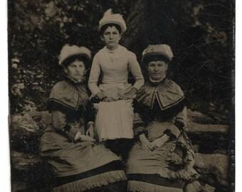 Tintype Circa 1900 Three Women Fancy Dresses