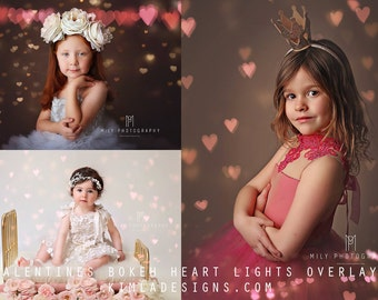 Valentines Heart Bokeh Photo Overlays for Photographers, Creative Photo Overlays, Heart Overlays