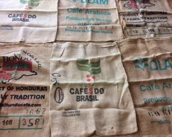 6 burlap coffe sack bags