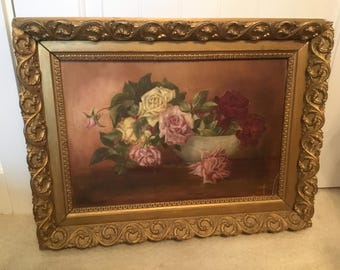 Gorgeous Antique Rose Oil Painting Sunday Victorian Floral