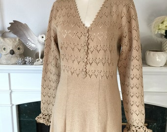 70s Neutral knit Sweater Dress