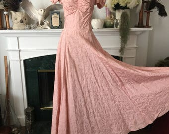 40s Embroidered Pink Princess Party Dress