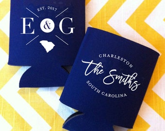 Script Name wedding can cooler, classy wedding beer holder, personalized wedding can coosy, wedding beer favor, coosy, fancy beer holder