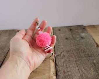 Sweet Annie Pom Pom Puff Ball Purse Bag Handbag Planner Zipper Charm Pull, Key Fob Keychain Keyring
