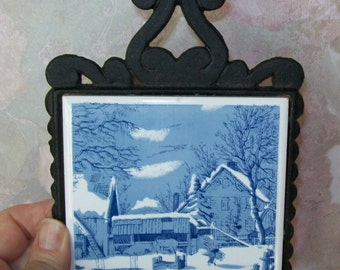 Vintage Cast Iron, Ceramic Blue White Tile Hot Pad Trivet, Winter Scene, Taiwan, 1960's, Cottage Chic, Traditional, rosesandbutterflies