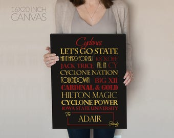 Personalized Iowa State Cyclones: Print or Canvas. Iowa State University. Gift for Dad. Gift for Graduation. Cyclones decor.  Custom.