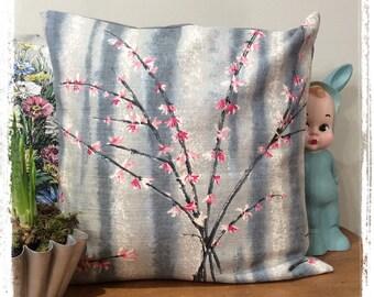 Vintage barkcloth cushion. Pink Forsythia on grey