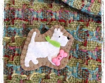 felt scottie dog brooch