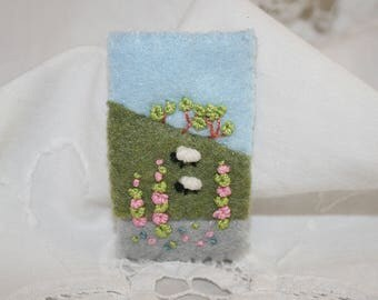 Embroidered Felt Summer Brooch - Hill-side sheep, foxgloves and distant trees stitched by Lynwoodcrafts