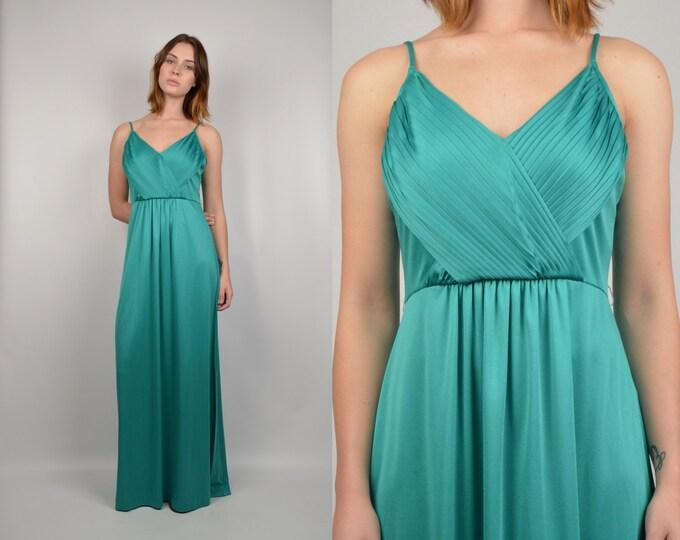 70's Teal Maxi Dress vintage