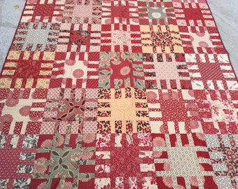 Barbara's Antique Quilt, Red, Ivory, Gray, Brown, Gold, lap quilt, couch throw, French General, hadmade, MaterialThings2