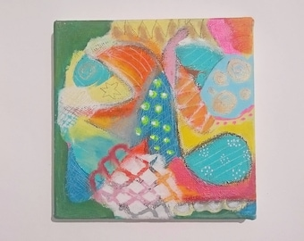 origin acryl painting on canvas, small, colorful, mixedmedia, abstract