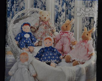 Baby's First Toys - Bunnies, Bear and Boy and Girl Dolls - UNCUT - Vogue 7700