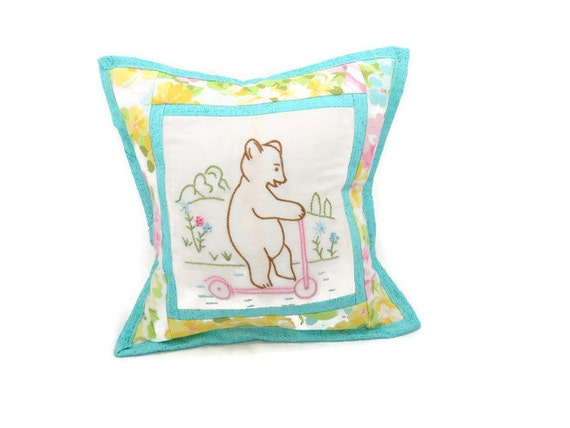 Embroidered bear pillow vintage embroidery repurposed