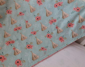 TeePee and Floral Minky Baby Blanket