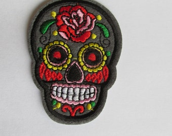 Grey Sugar Skull Patch, Day of the dead patch - iron on or sew on