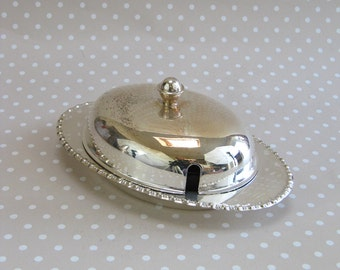 Vintage Retro Yeoman Plate EPNS Butter Dish with Glass Insert and Silver Plated Knife Made in England