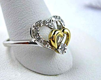 Diamond Hearts Ring, 10k White and Yellow Gold, Double Heart Petite Design, Right Hand Promise Diamond, 2 Grams, Size 6.5