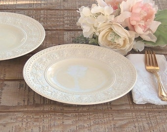Wedgwood Wellesley Salad Plates Set of 2 French Country Creamware English China Dessert Plates