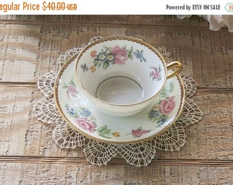 T and V Limoges Hand Painted Tea Cup and Saucer, Shabby Chic, Cottage Chic, Wedding, Tea Party, Housewarming Gift , Tressemann & Vog