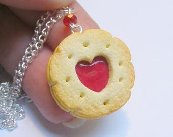 Food Jewelry, Heart Cookie Necklace, Jammy Heart Biscuit, Miniature Food Necklace,  Miniature Food Jewellery, Mini Food Jewelry Food Pendant