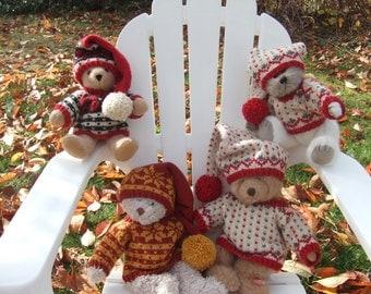 Knitting Pattern - Nordic Teddy Sweaters & Stocking Caps, PDF pattern, Fana Setesdal Norwegian pullover sweater stocking cap PDF pattern
