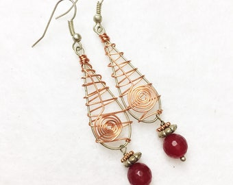 Santa Fe style red jade earrings with distinct copper detailing inspired by the Southwest by Jules Jewelry Box