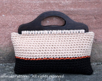 CROCHET PATTERN - Crochet purse Retro style in black and beige - Listing109