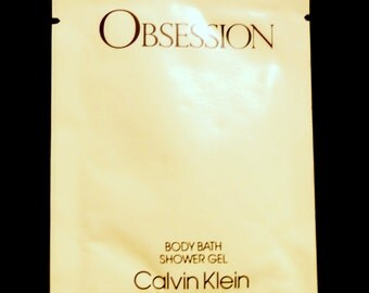Vintage 1980s Obsession for Women by Calvin Klein Perfumed Body Bath Shower Gel Sample Packet