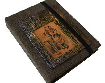 Alice in Wonderland Themed Coptic Stitched Journal/ Sketchbook/ Memory Keeper