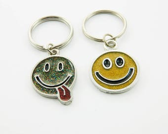 Glitter Smiley Face Keychain