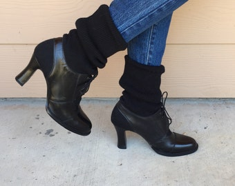 Vintage Black Leather Oxford Lace Up Chunky Heel Slouchy Chelsea Retro Sock Boots // Women's size 6.5 7
