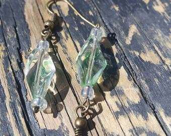 Green Swirl Dangle Earrings
