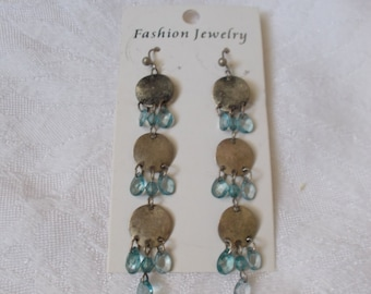 Retro-Blue Dangled Hammered Style-R3922