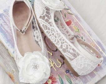 White Crochet GIRLS SHOES with SATIN flower -Flower Girl Shoes