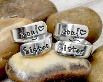 Best Friend Rings - Soul Sisters - Infinity Rings - Personalized Rings - Matching Friendship Rings - Hand Stamped Rings - Wrap Rings