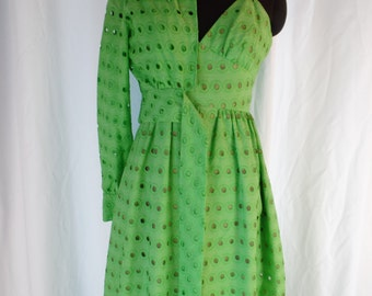 60s vintage LILLIE RUBIN lime green giant eyelet spaghetti strap empire waist gown and matching tie front bolero jacket: size 2-4 US woman