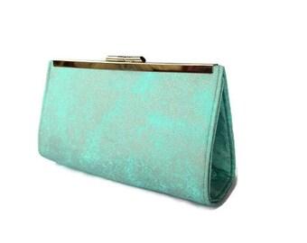 Aqua evening clutch purse/ Summer wedding purse/ Something blue/ Bridesmaids  gift clutch/ Gift for her/ Beach wedding purse