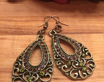 Earrings, Chandelier Earrings, Green Crystals, Bronze Crystals, Bronze Tone, #63