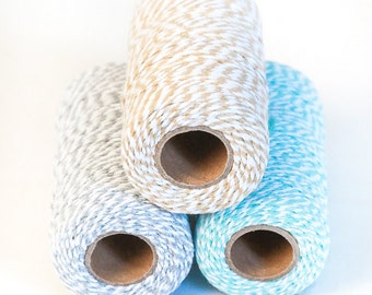 100 meters of light blue, grey and natural big baking's twine