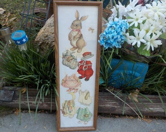 Vintage Framed Bunny Paper Dolls Sweet /Not Included in any Coupon Discount Sale :)S