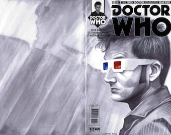 Comic Book Sketch Cover- Doctor Who the 10th Doctor 3D glasses