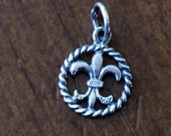 Fleur De Lis Charm- Sterling Silver- Fleur De Lis Pendant- New Orleans Gifts- Paris Charm