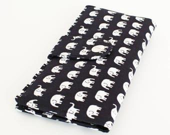 Large Card Wallet, Fabric Checkbook Wallet, Women's Long Phone Wallet, Travel Clutch, Handmade Wallet - white elephants marching in black