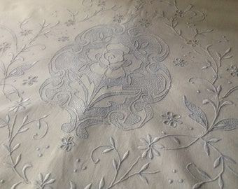 1940s Madeira Bed Sheet Queen Size, White Linen Bed Top Sheet Unused Queen Pale Blue Floral Hand Embroidered